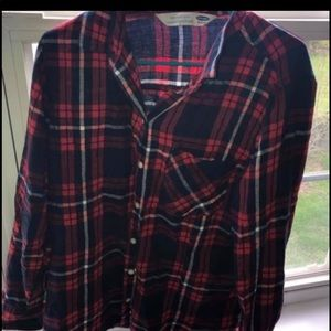 Old Navy Navy Blue & Red Striped Flannel!